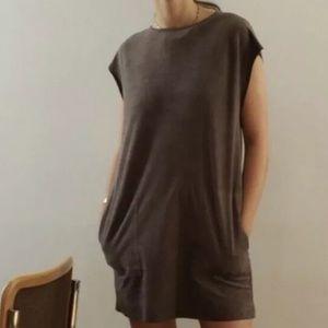 Aritzia Wilfred Free Nori faux suede grey dress